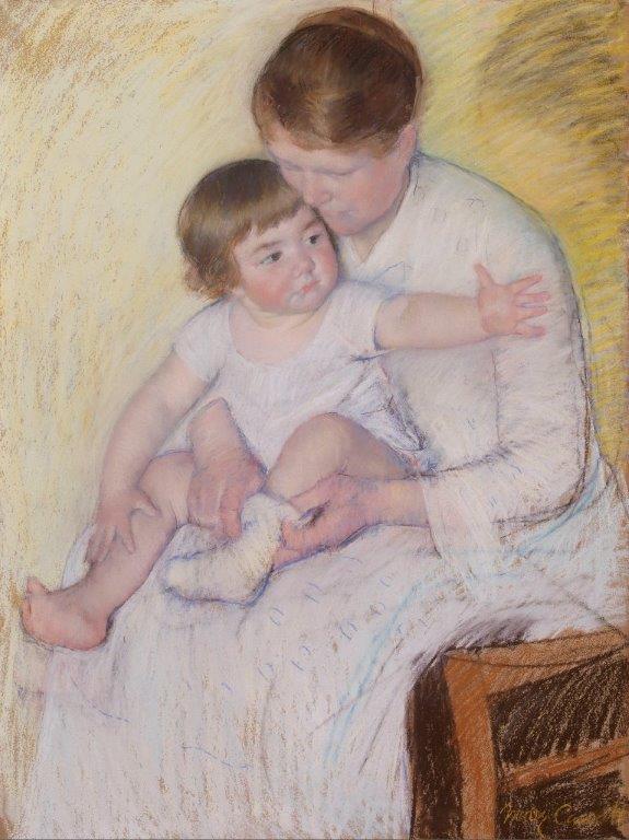 """Mary Cassatt, """"Cuidados Maternais"""", c. 1891. Pastel. Coleção do Fundador"""