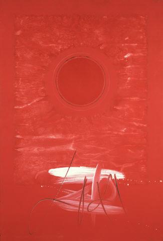 """Eurico Gonçalves, """"Estou Vivo e Escrevo Sol"""", 1971. Tinta acrílica sobre platex e papel. Coleção Moderna"""