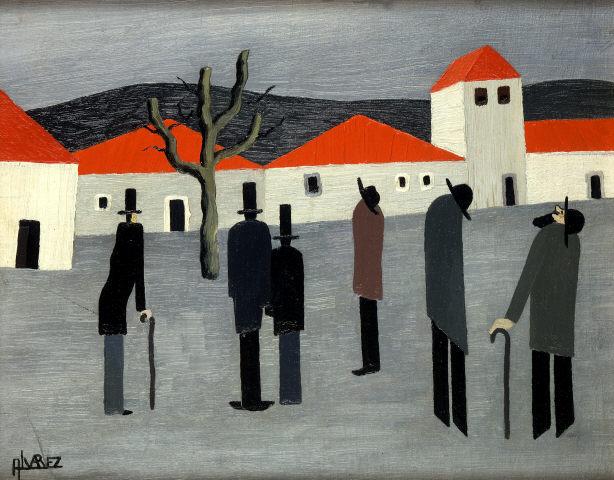 """José Dominguez Alvarez, """"Casario e figuras de um sonho"""". Óleo sobre cartão prensado e tela. Coleção Moderna"""