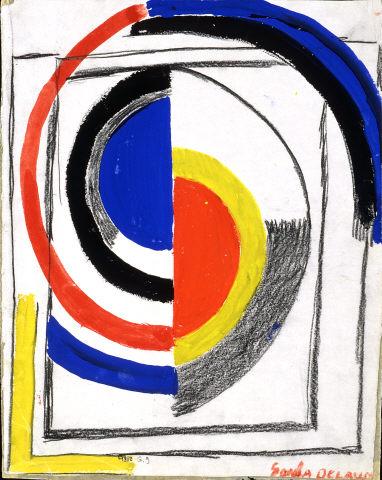 """Sonia Delaunay, """"A Jour"""", 1965. Cartão e guache sobre papel. Coleção Moderna"""