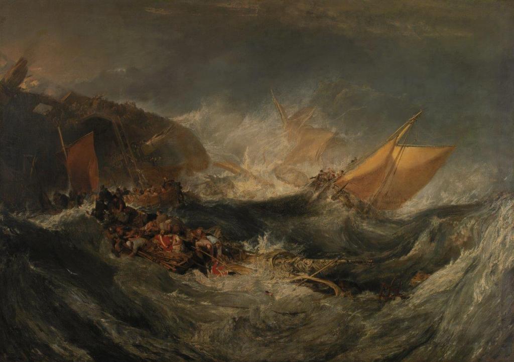 """William Turner, """"Naufrágio de um cargueiro"""", c. 1810. Óleo sobre tela. Coleção do Fundador"""