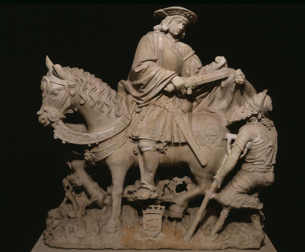 """""""São Martinho a cavalo partilhando a capa com um mendigo"""", 1531. Calcário. Coleção do Fundador"""
