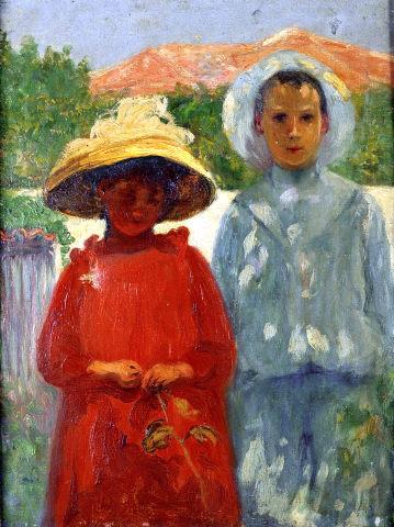 """António Carneiro, """"Retratos dos filhos do pintor"""", 1900. Óleo sobre tela. Coleção Moderna"""