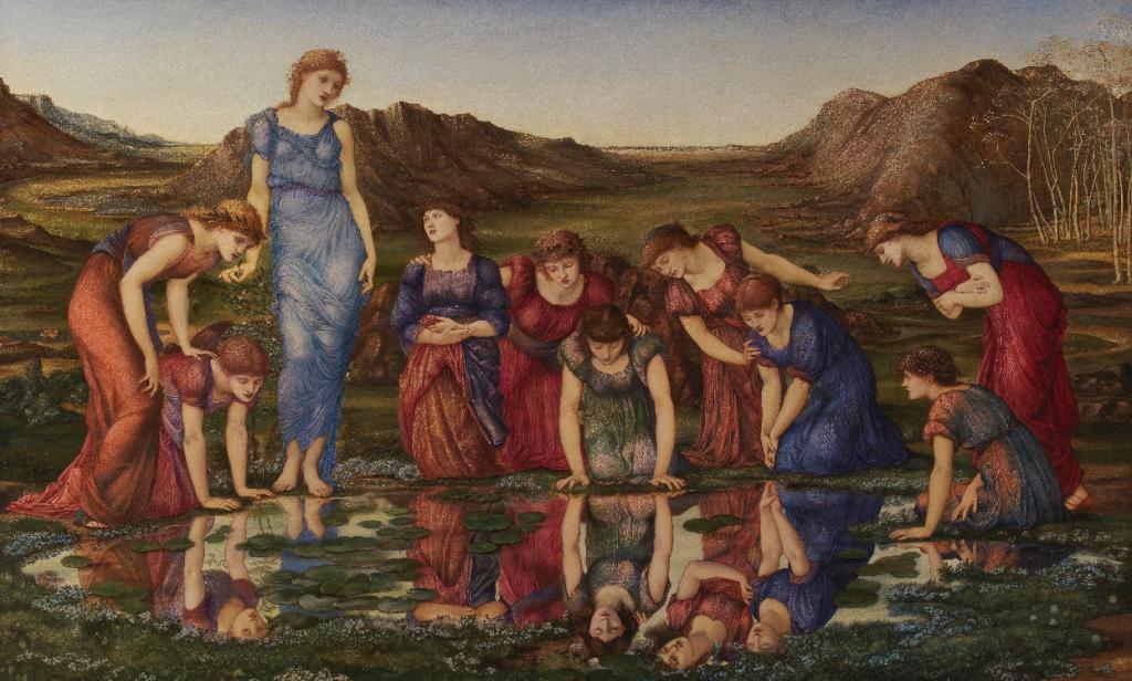 """Sir Edward Burne-Jones, """"O Espelho de Vénus"""", 1877. Óleo sobre tela. Coleção do Fundador"""
