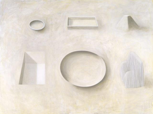 """Jorge Martins, """"Instalação"""", 1993. Óleo sobre tela. Coleção Moderna"""
